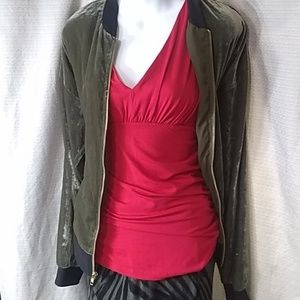 CABI red v neck and back rayon spandex blend sz S